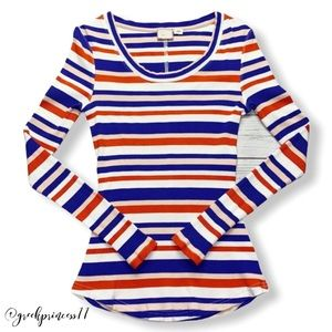 Anthro Postage Stamp Striped Long Sleeve Top